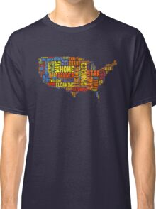 United States of America Map Star Spangled Banner Typography Classic T-Shirt