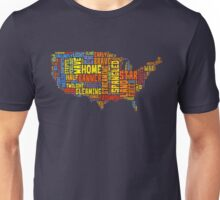 United States of America Map Star Spangled Banner Typography Unisex T-Shirt