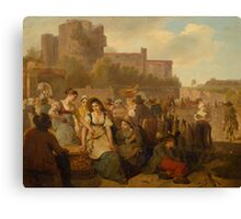 TÖPFFER, WOLFGANG-ADAM (Geneva  Morillon)  (Market Scene in front of a Castle in Ruins) Canvas Print