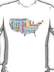 United States Map Declaration of Independence Typography  T-Shirt