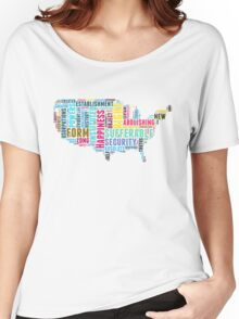 United States Map Declaration of Independence Typography  Women's Relaxed Fit T-Shirt