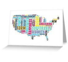 United States Map Declaration of Independence Typography  Greeting Card