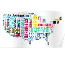 United States Map Declaration of Independence Typography  Poster