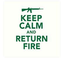 Funny 'Keep Calm and Return Fire' Machine Gun T-Shirt Art Print