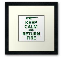 Funny 'Keep Calm and Return Fire' Machine Gun T-Shirt Framed Print