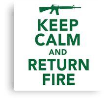 Funny 'Keep Calm and Return Fire' Machine Gun T-Shirt Canvas Print