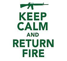 Funny 'Keep Calm and Return Fire' Machine Gun T-Shirt Photographic Print