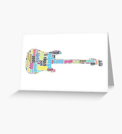 Guitar Typography Bob Dylan Times They Are A Changin Greeting Card