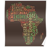 Africa Typography Map All Countries Poster