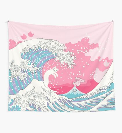 Psychodelic Bubblegum Kunagawa Surfer Cat Wall Tapestry