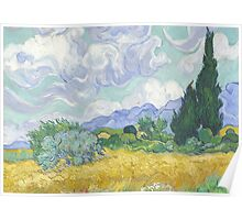 A Wheatfield with Cypresses by Vincent van Gogh Poster