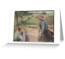 Two Young Peasant Women ,  Camille Pissarro Greeting Card