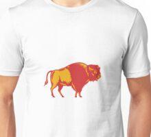 American Bison Side Woodcut Unisex T-Shirt