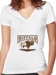 Buffalo American Bison Side Woodcut Women's Fitted V-Neck T-Shirt