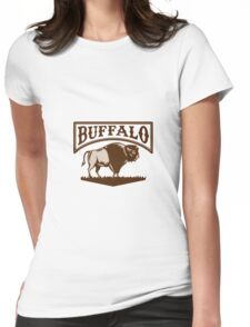 Buffalo American Bison Side Woodcut Womens Fitted T-Shirt