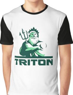 Triton Arms Crossed Trident Front Retro Graphic T-Shirt