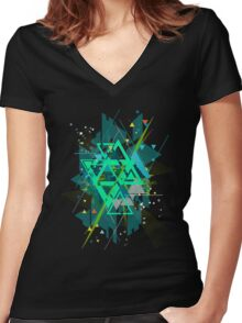Digital Abstract Geometric Supreme Blast Women's Fitted V-Neck T-Shirt