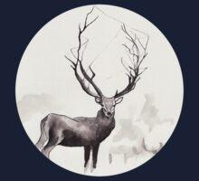 Art Illustration - Deer in the fog Kids Tee