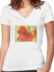 Blooming Amaryllis Women's Fitted V-Neck T-Shirt