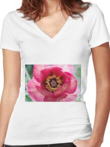peony in spring Women's Fitted V-Neck T-Shirt