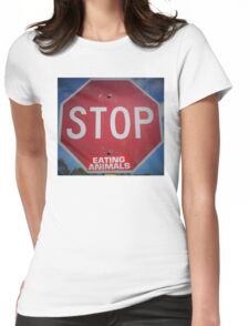 Stop Eating Animals Womens Fitted T-Shirt