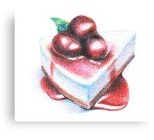 cherry cheesecake illustration Canvas Print
