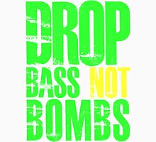 Drop Bass Not Bombs (bright neon/yellow)  Mens V-Neck T-Shirt