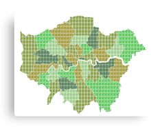 London Boroughs Map - Green Canvas Print