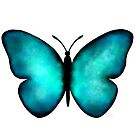 Beautiful Blue Morpho Butterfly Watercolor by Laura Bell