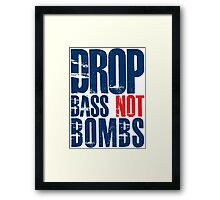 Drop Bass Not Bombs (dark blue/red)  Framed Print
