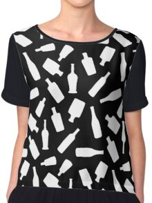 Black and White Bottles Chiffon Top