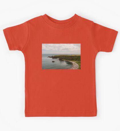 North Sea Greens - Emerald Water and Verdant Cliffs in Scotland UK Kids Tee