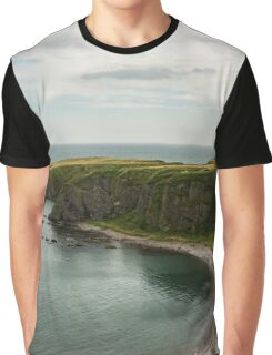 North Sea Greens - Emerald Water and Verdant Cliffs in Scotland UK Graphic T-Shirt