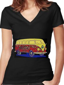 Love On Wheels Women's Fitted V-Neck T-Shirt