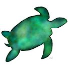Sea Turtle Silhouette in Vibrant Shades of Green Watercolor  by Laura Bell