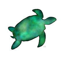 Sea Turtle Silhouette in Vibrant Shades of Green Watercolor  Photographic Print