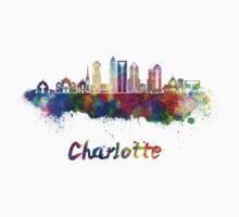 Charlotte skyline in watercolor Kids Tee