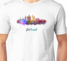Detroit skyline in watercolor Unisex T-Shirt