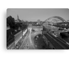 Sandhill, Newcastle upon Tyne at Dusk, Monochrome Canvas Print