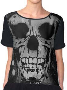 Cool Skull with Paint Drips - Black and White Chiffon Top