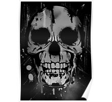 Cool Skull with Paint Drips - Black and White Poster