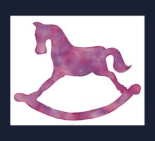Adorable Pink & Purple Rocking Horse Watercolor Silhouette for Nursery Kids Clothes
