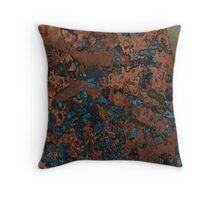 Brown Blue Copper Rust Throw Pillow