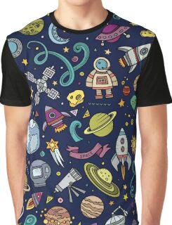 Cartoon Space Explorer Birthday Kids Theme Graphic T-Shirt