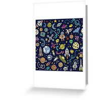Cartoon Space Explorer Birthday Kids Theme Greeting Card