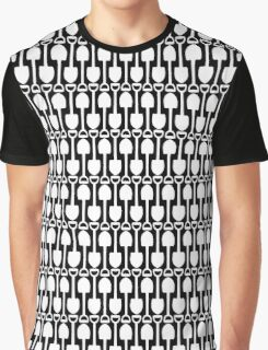 Black and White Shovels Pattern Graphic T-Shirt