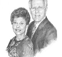 departed wife and husband drawing by Mike Theuer