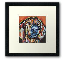Fun Plott Hound Dog bright colorful Pop Art Framed Print