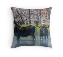 Moose in Dawn Fog Throw Pillow
