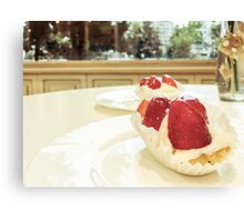Strawberry Cake Served In Cafeteria Canvas Print